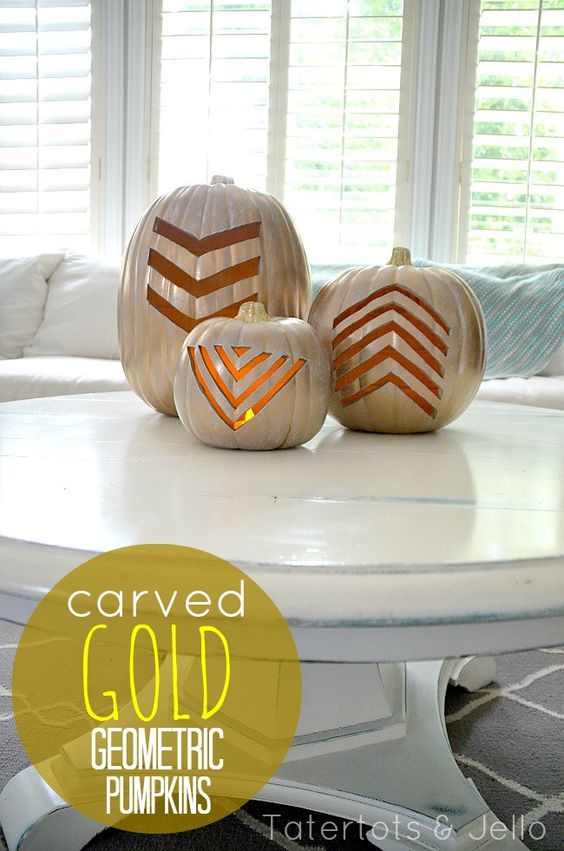 DIY Carved Gold Geometric Pumpkins -- Tatertots and Jello #DIY #Fall #Halloween: Geometric Pumpkins, Fall Holiday, Pumpkinideas Diy, Halloween Fall, Gold Pumpkins, Halloween Pumpkin, Fall Halloween, Pumpkins Goldaccessories, Partydecor Pumpkinideas