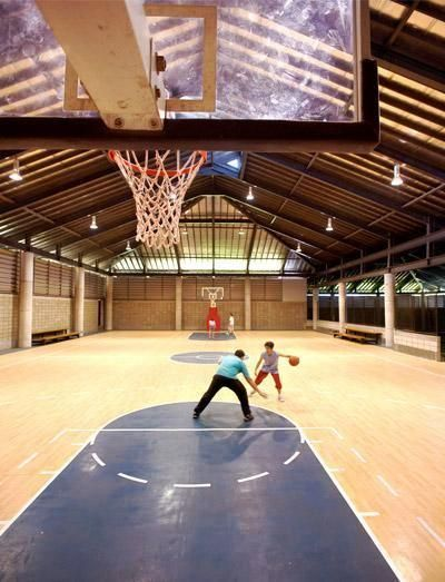 Turn the garage into an indoor basketball court/rock climbing wall ...