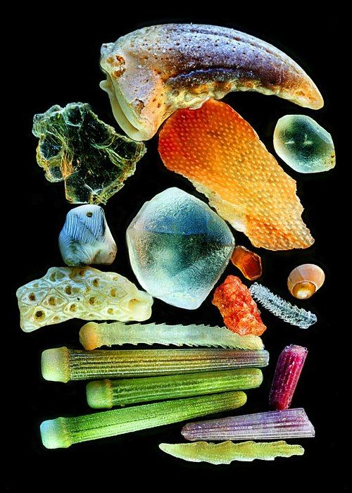 Grains of sand under a microscope: