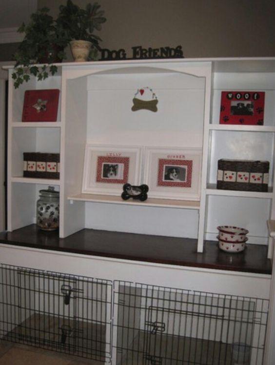 Dog kennels, Built ins and Desks on Pinterest