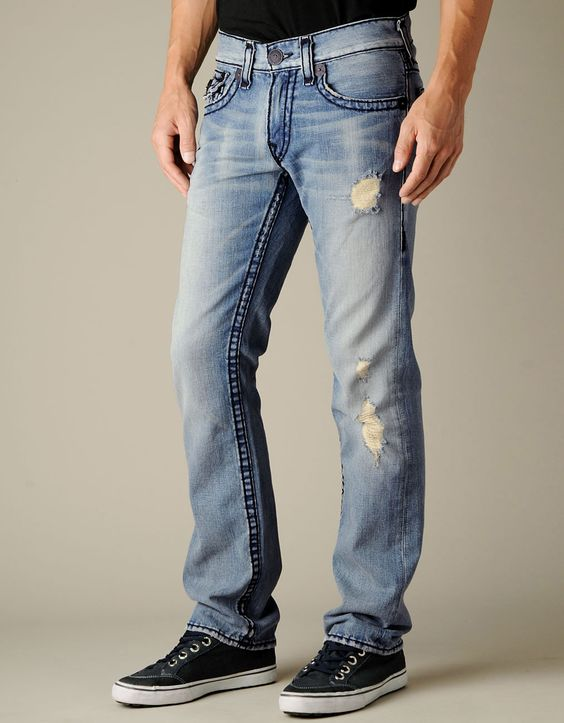 Men's Ricky Super T - Cowboy Destroyed | True Religion Brand Jeans