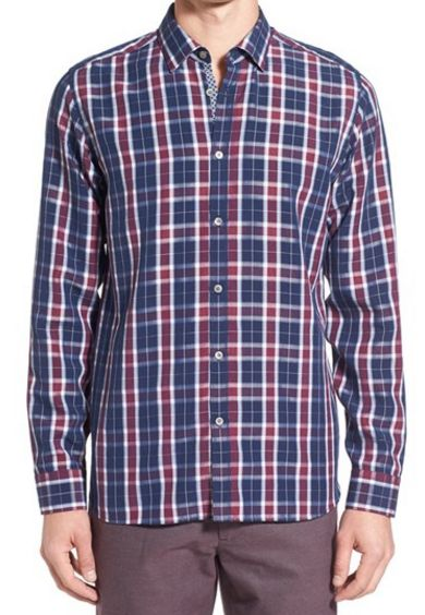 modern slim fit plaid sport shirt