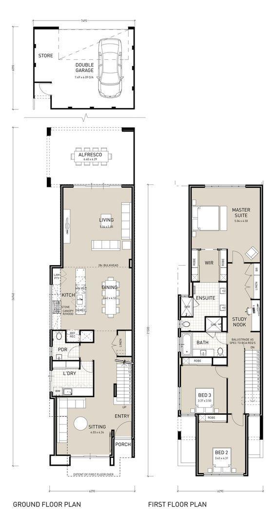 Narrow Two Story House Plans Google Search Planos De Viviendas De Dos Plantas Planos De Vivienda Estrecha Casa Estrecha
