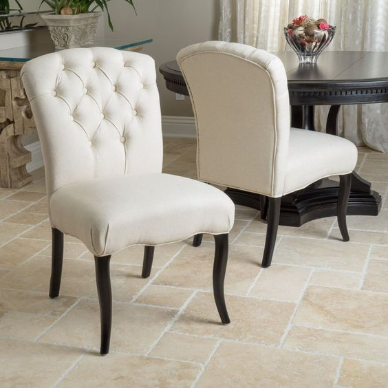 Set Of 2 Dining Room Elegant Button Tufted Linen Fabric Chairs