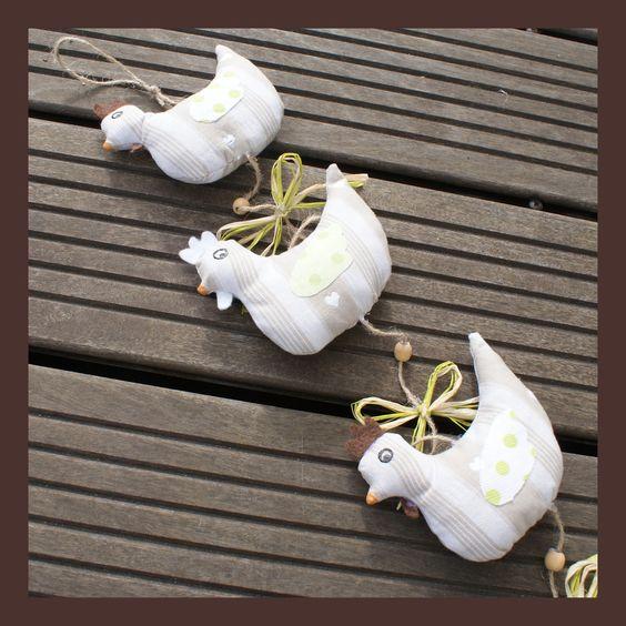 Guirlande de poules en tissu kelch beige alsacien d coration for Poules decoration