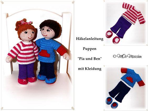 """Puppen """"Pia und Ben"""" zum Nachhäkeln von MOs Maschen auf DaWanda.com"""