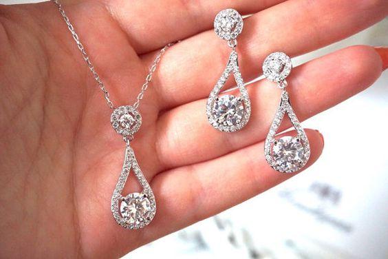 Bruidsmeisjes sieraden Set, bruiloft ketting, bruids juwelen ingesteld, CZ Teardrop hanger ketting, bruidsmeisjes sieraden Set
