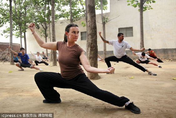 In December 2011,an English woman named Sarah Henderson-Sharon traveled to the birthplace of tai chi, Chenjiagou village in Wen county, Jiaozuo city, Henan province out of her love for tai chi. Description from chinesetimeschool.com. I searched for this on bing.com/images