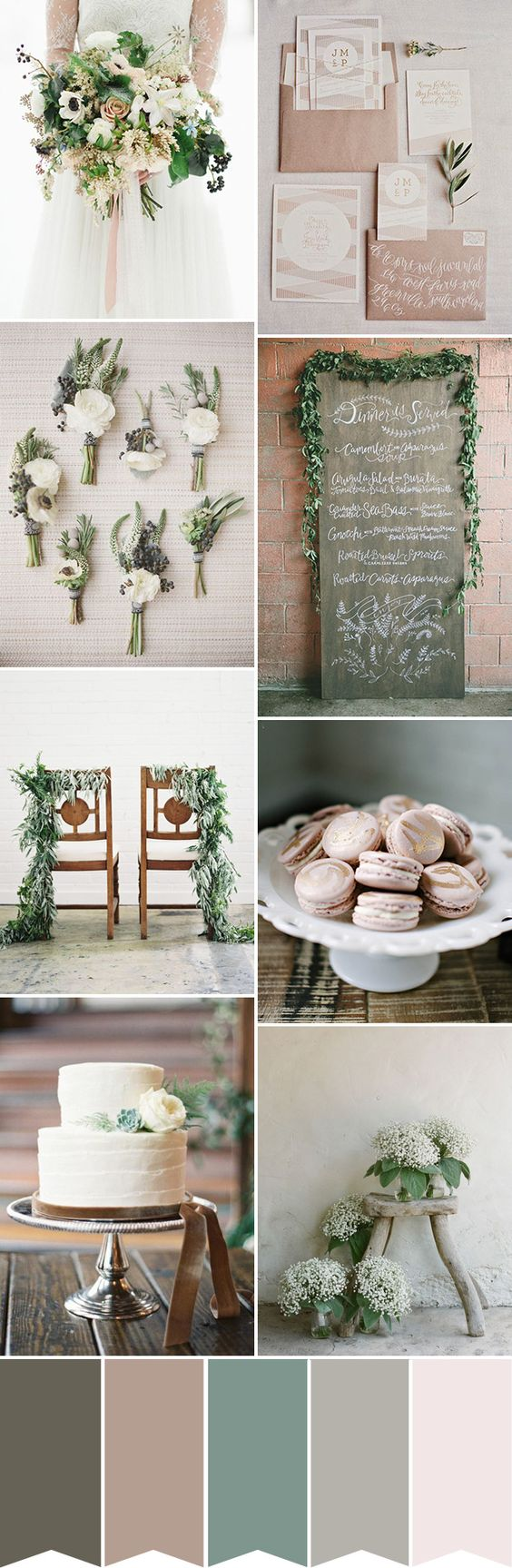 A simple and chic rustic wedding color palette | www.onefabday.com: