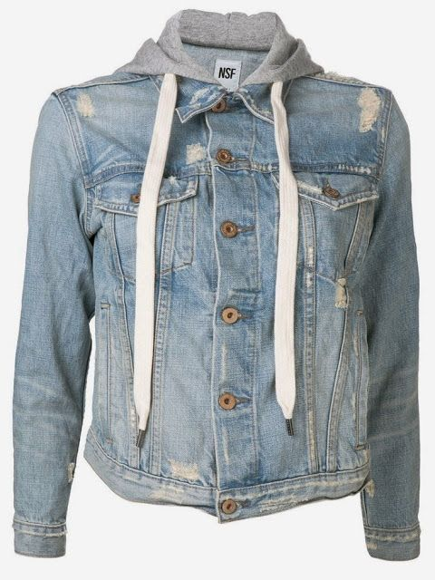 Casual NSF Jeans Hoodie Jacket / bleach denim   white white shoe
