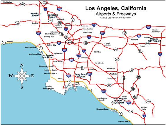Los Angeles CA Area Freeway And Airport Map  Wings