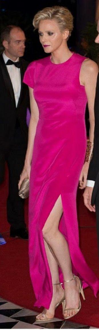 Princess Charlene wore Akris dress as she attends the 2014 Gala Grand Prix of Monaco