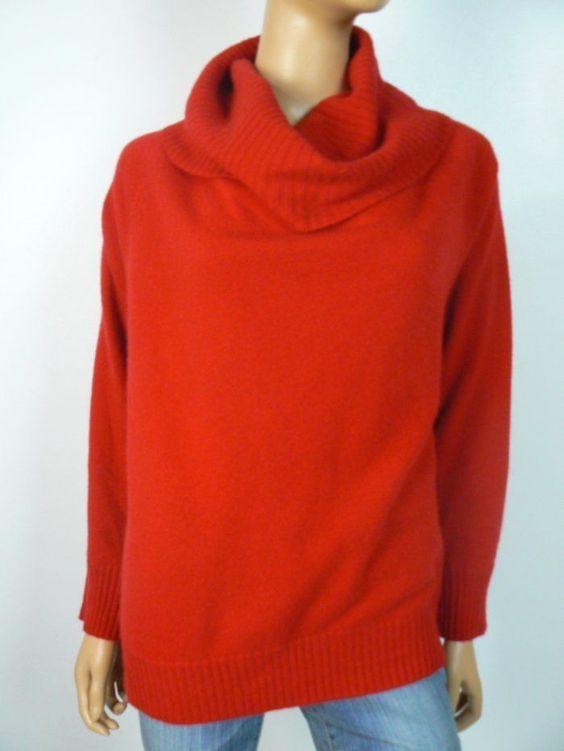 $199 Jones New York Red Cashmere Dolman Sleeve Cowl Neck Sweater ...