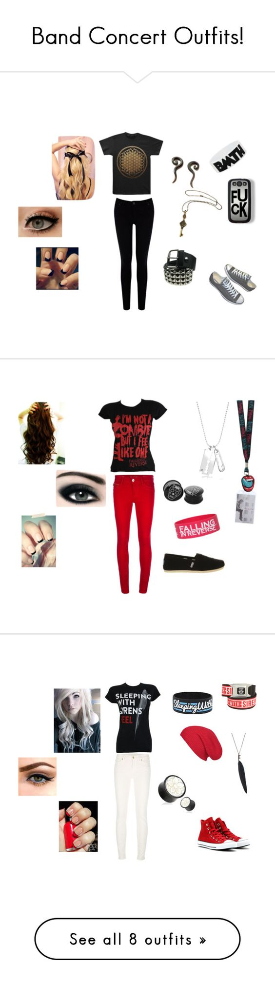 """""""Band Concert Outfits!"""" by duckyouu ❤ liked on Polyvore featuring Warehouse, Hot Tools, Zero Gravity, DL1961 Premium Denim, TOMS, McQ by Alexander McQueen, Max Factor, 7 For All Mankind, Converse and Ann Demeulemeester"""