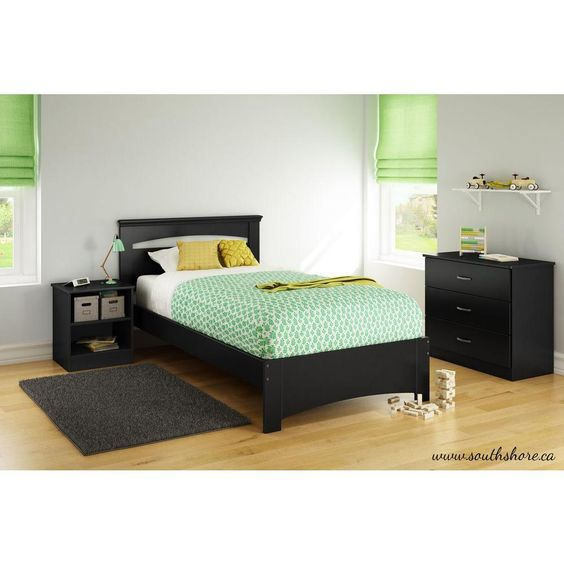 Libra Pure Black Twin Bed Frame
