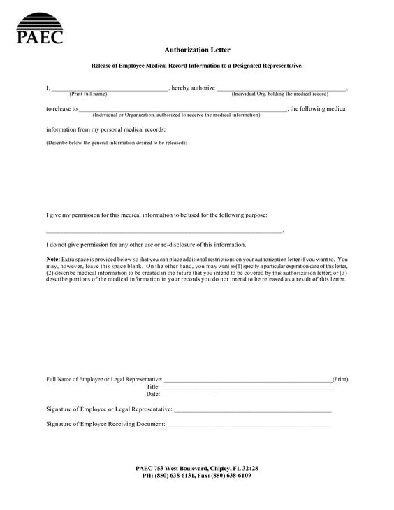 Letter Release Information Requesting Authorization Account