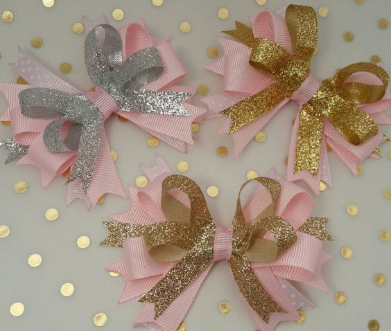 Pink and Gold bows Princess party photo prop by LaVieDeLily