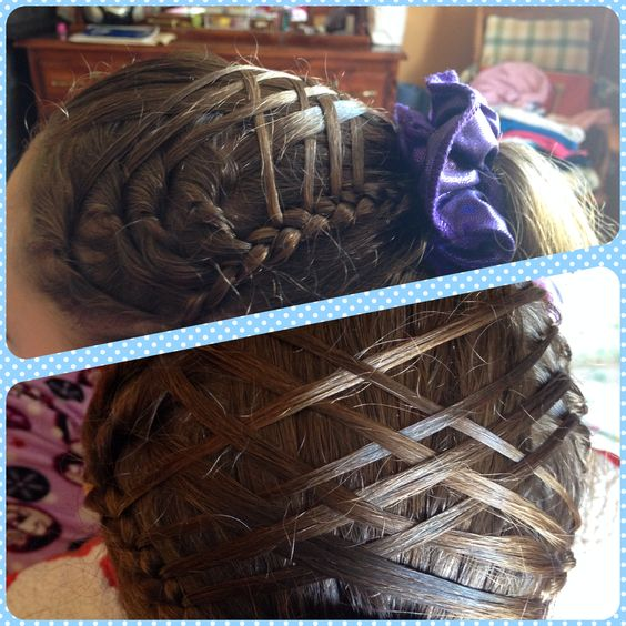 Crissed-crossed ponytail design good for gymnastics competitions