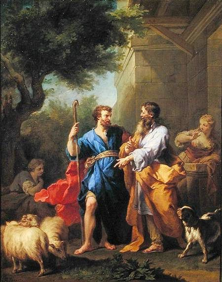 XOU231511 Jacob and Laban, before 1737 (oil on canvas) by Restout, Jean II (1692-1768) oil on canvas 83.5x67.5 Musee des Beaux-Arts, Rouen, France Lauros / Giraudon French, out of copyright: