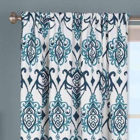 Better Homes and Gardens Damask Curtain Panel Gardens Indigo