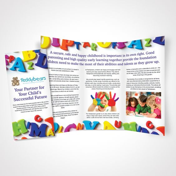 A4 pamphlet design for the Hitchin based pre-school, Teddybears