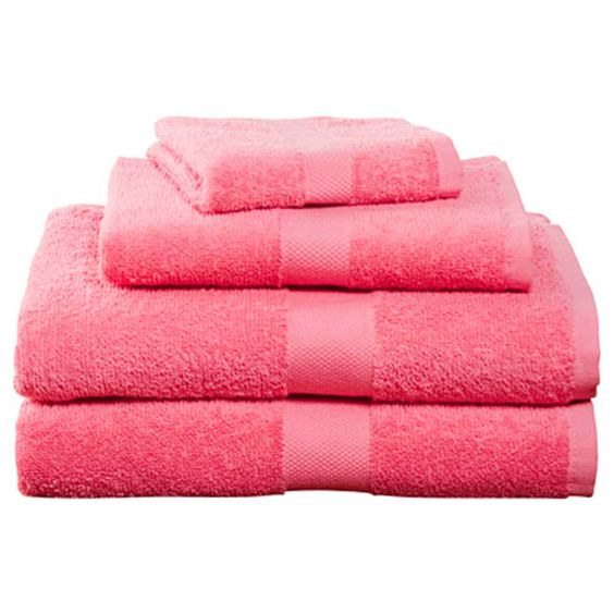 Deep Pink Four-Piece Cotton Towel Set | Dorm Bedding and Bath ...