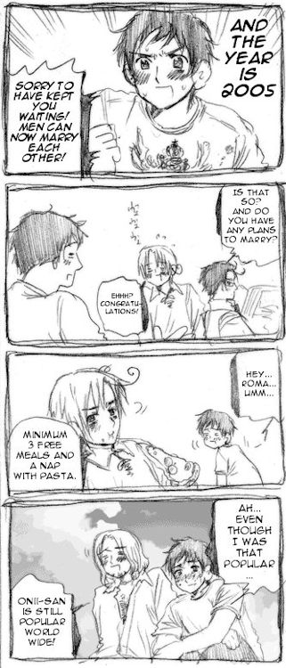 """Didn't anyone else notice that Spain was already providing Romano with those since he was a kid? So Romano basically said """"I always wanted to marry you, you bastard, I'm just too tsundere to admit it so I have to set conditions you're already fulfilling anyway."""""""
