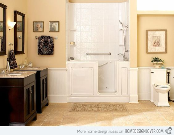 16 beige and cream bathroom design ideas home design for Beige and black bathroom ideas
