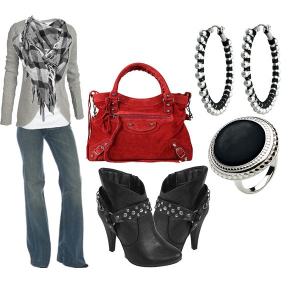 I have a gray blazer, red purse, and black boots.  Can you believe I'm missing the white tee.  Like the fun ring too.