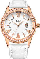 BUREI® Women's BL-3020-01AR Diamond Accented Quartz Rose Gold Watch with White Leather Band