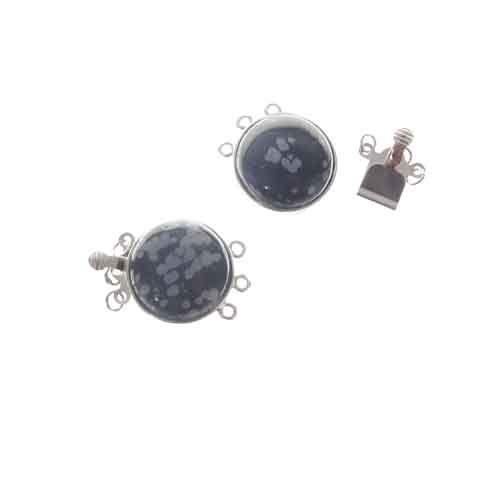 18mm Snowflake Obsidian Gemstone 3-Strand Clasp