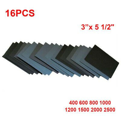 Details About 16x Sandpaper 400 2500 Grit Wet Dry Assorted Wood 3x 5 1 2 Abrasive Paper Sheet Wood Polish Wood And Metal Wood Supply