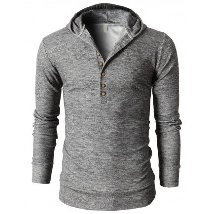 Mens Clothes Slim Fit Hoodie Henley Neck T-Shirts With Button Pointed (KMOHOL021) http://www.shirtup.com.au/shirts