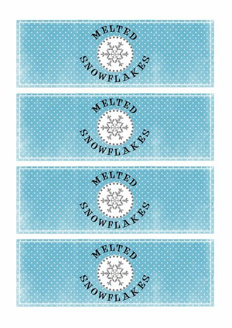 greatfun4kids melted snowflakes free printable water bottle labels winter wonderland ice. Black Bedroom Furniture Sets. Home Design Ideas
