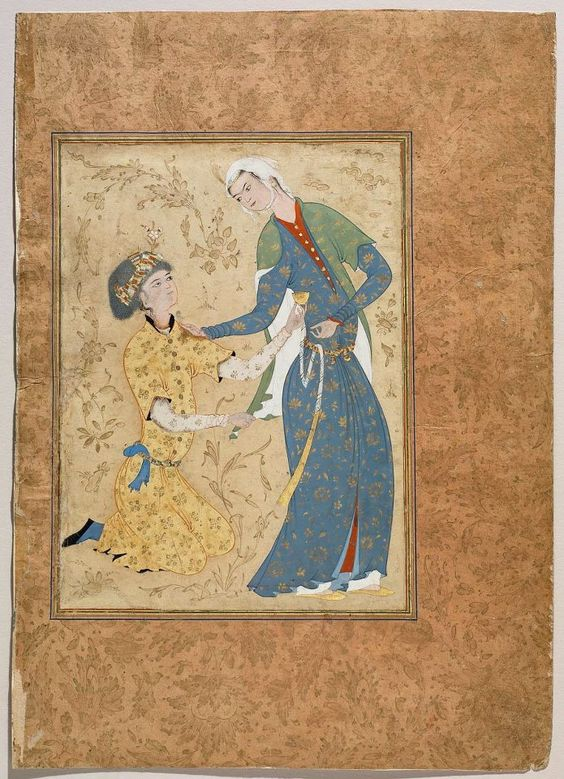 A Young Man Offering a Cup of Wine to a Girl  • Persian, Safavid, 16th century  possibly Herat, Afghanistan or Iran  DIMENSIONS  Overall: 33.8 x 23.9 cm (13 5/16 x 9 7/16 in.) Image: 20.8 x 15.1 cm (8 3/16 x 5 15/16 in.)  MEDIUM OR TECHNIQUE  Album leaf; painting and calligraphy on paper  CLASSIFICATION  Books and manuscripts  TYPE  Album page  ACCESSION NUMBER  14.595  NOT ON VIEW  A young man offering a cup of wine to a girl. Possibly by Muhammadi.
