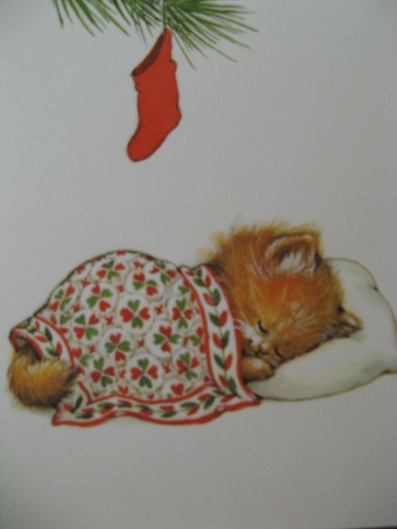 Four Vintage Christmas Cards by Ruth Morehead Cat Kitten Kitty Quilt | SO adorable!: