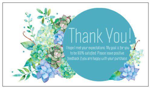 100 Professional Thank You Cards Ebay Poshmark Etsy Seller Feedback Blue Floral By Lestroisj On Etsy Thank You Cards Purchase Card Business Card Size