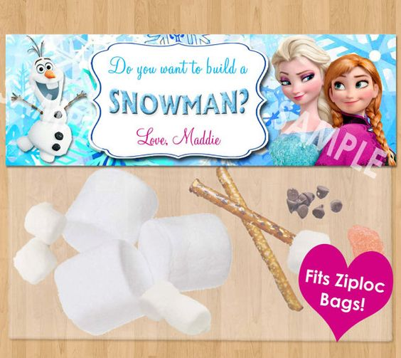 Do You Want to Build a Snowman Frozen Favor Bag Toppers - Personalized Disney Frozen Birthday Printable for Party Treat Candy Loot Bags Olaf