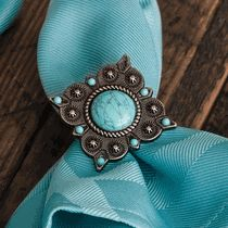 Turquoise Concho Napkin Rings - Set of 6