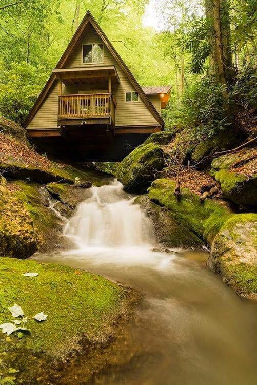 Gorgeous A Frame House Built Over A Stream A Frame House House Built A Frame House Plans