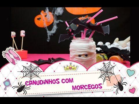 Canudinho com morceguinhos para decoração do Dia das Bruxas (Halloween)! Uma decoração super simples para  festas do Dia das Bruxas (Halloween). Decoração para crianças.   #manualidades #diy #artesanato #handcraft #halloween #diadasbruxas