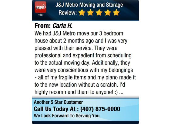 We had J&J Metro move our 3 bedroom house about 2 months ago and I was very pleased with...