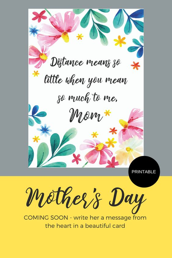Printable Distance Mean So Little Mom Greeting Card Etsy Mom Cards Mom Printable Cards