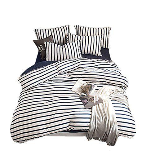 Merryfeel 100 Cotton Jersey Weave Duvet Cover Set Ful Https Www Amazon Com Dp B01n67efya Ref Duvet Cover Sets Striped Duvet Covers Queen Bedding Sets