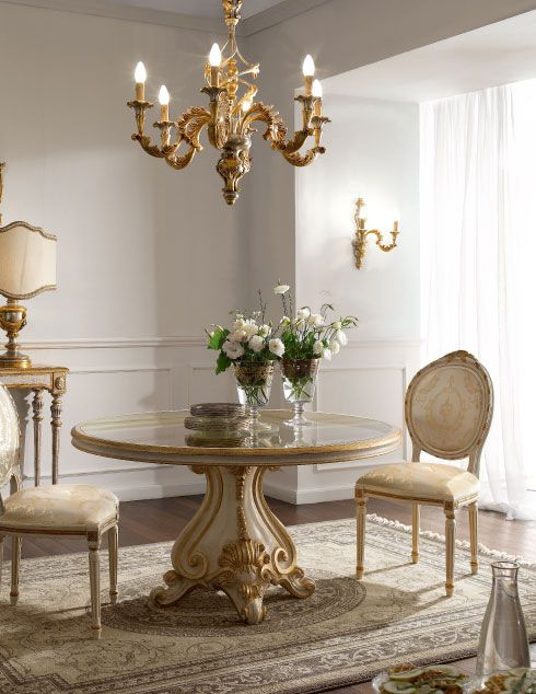 Italian luxury dining room wood furniture andrea fanfani for Luxury glass dining tables