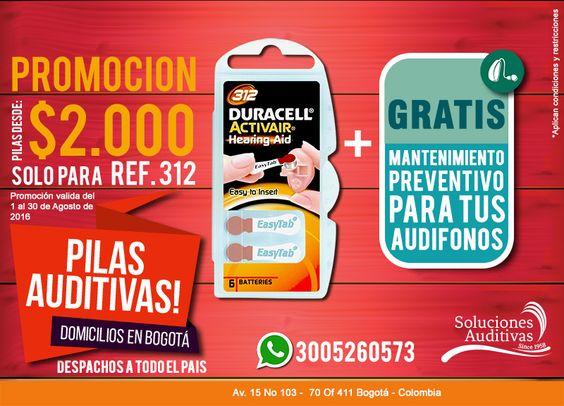 Para el mes de Agosto tenemos una promoción para que compres tus Pilas Ref 312 Realiza tu pedido por Whatsapp Domicilios en Bogotá. #SolucionesAuditivas Tel: 6110808 - Whatsapp: 300 5260573