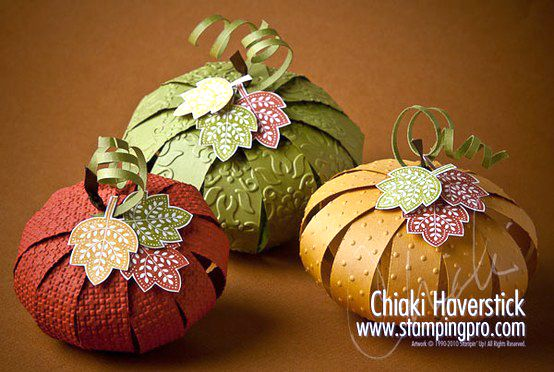 Paper pumpkins using Day of Gratitude stamp set for table décor.