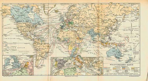 Dampfschiff Weltkarte Verkehr Seefahrt Originale Sxz - Billerantik