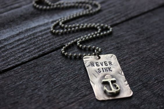 Nautical Brass Dog Tag with Anchor on Brass Ball by RUSTICBRAND, $34.00