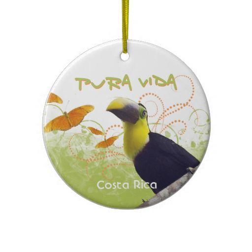 Pura Vida Toucan Butterflies Ornament